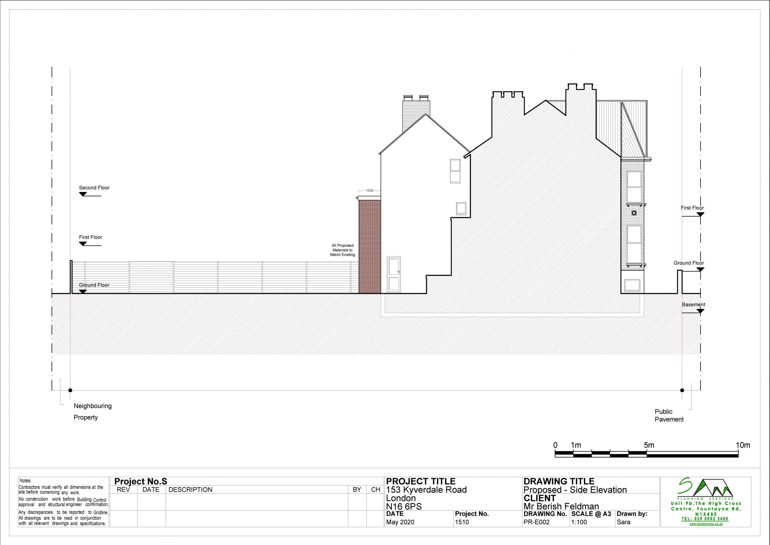 153kyverdaleProposed Side Elevation