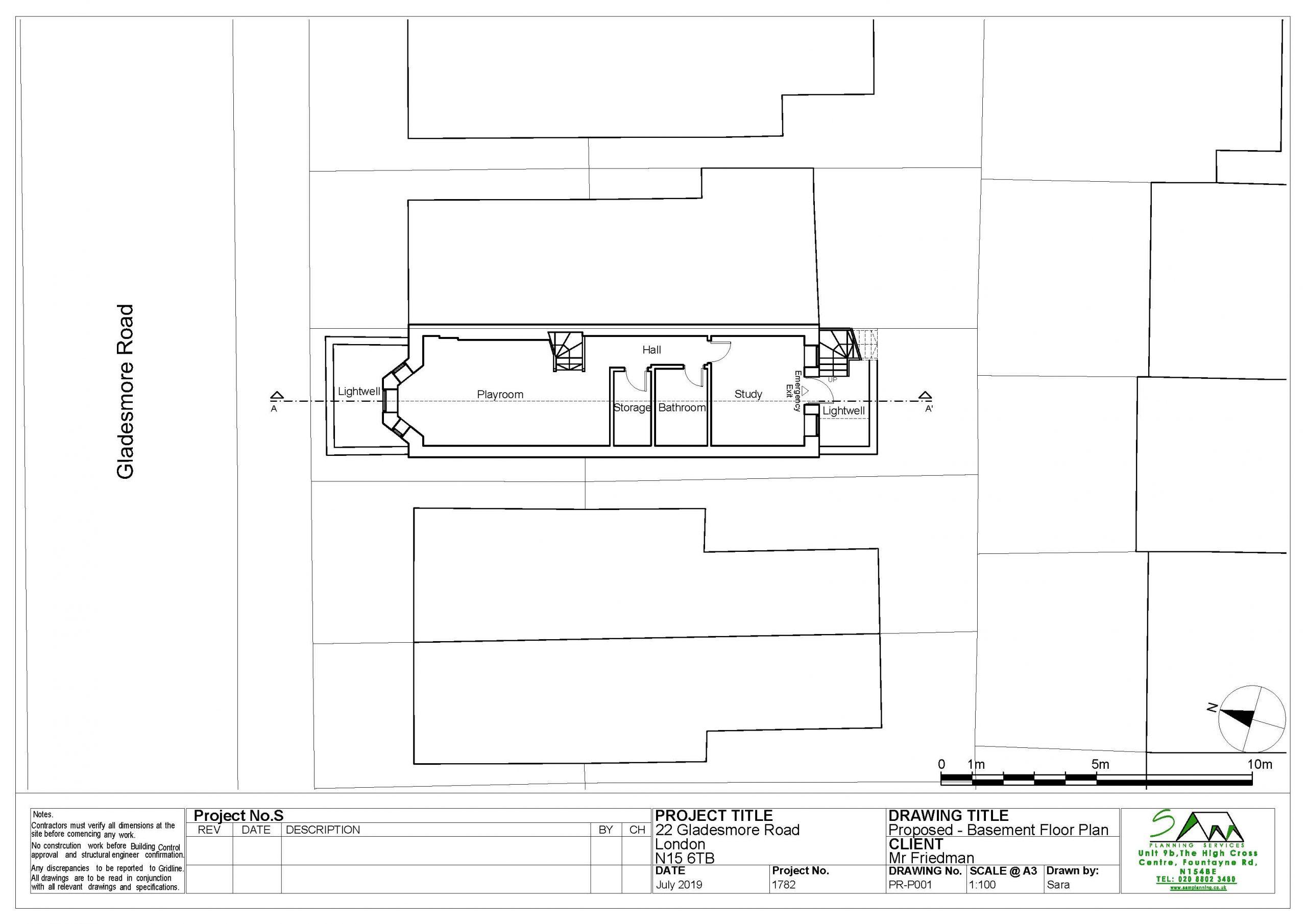 22gladesmoreProposed Basement Floor Plan