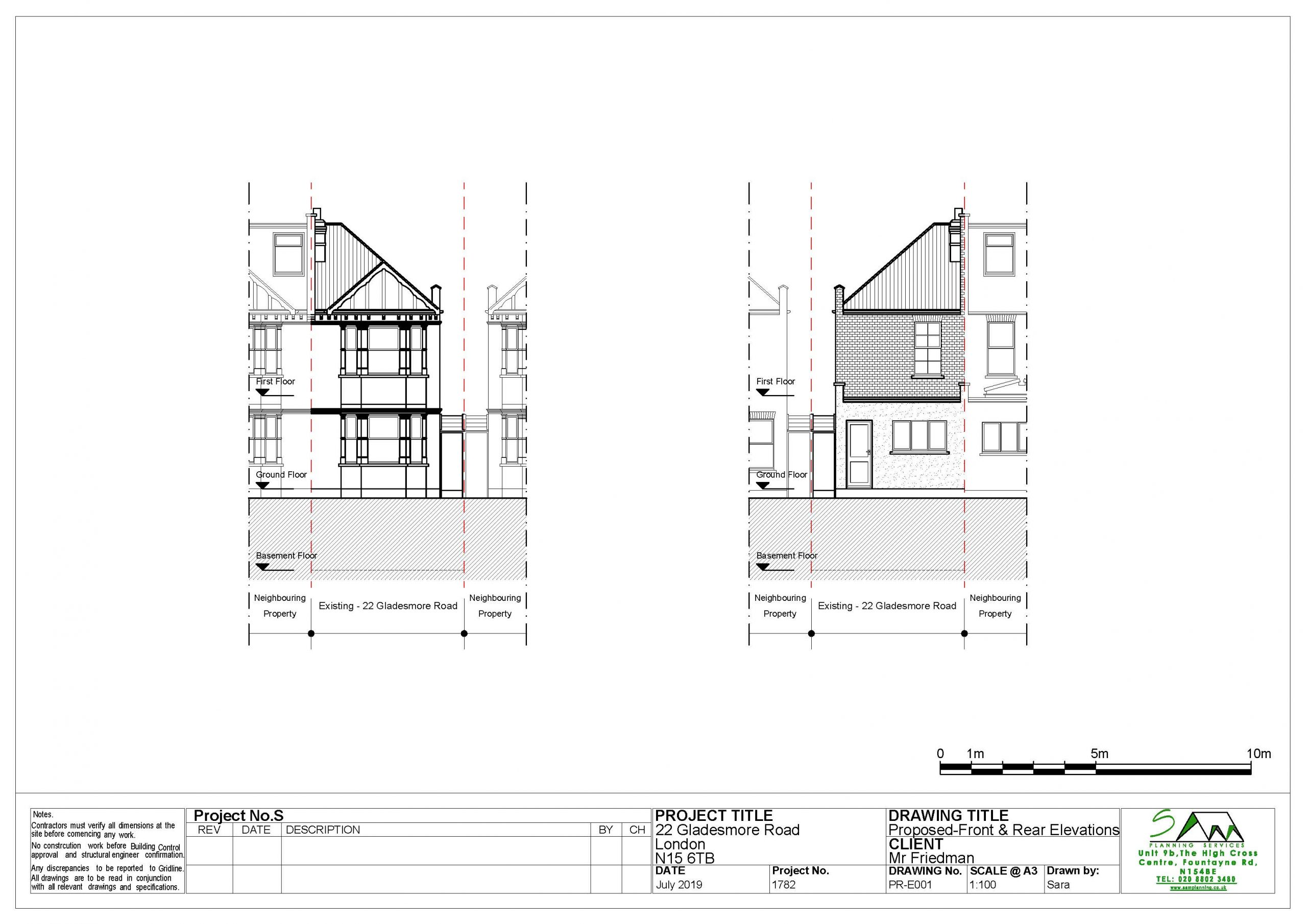 22gladesmoreProposed Front and Rear Elevations