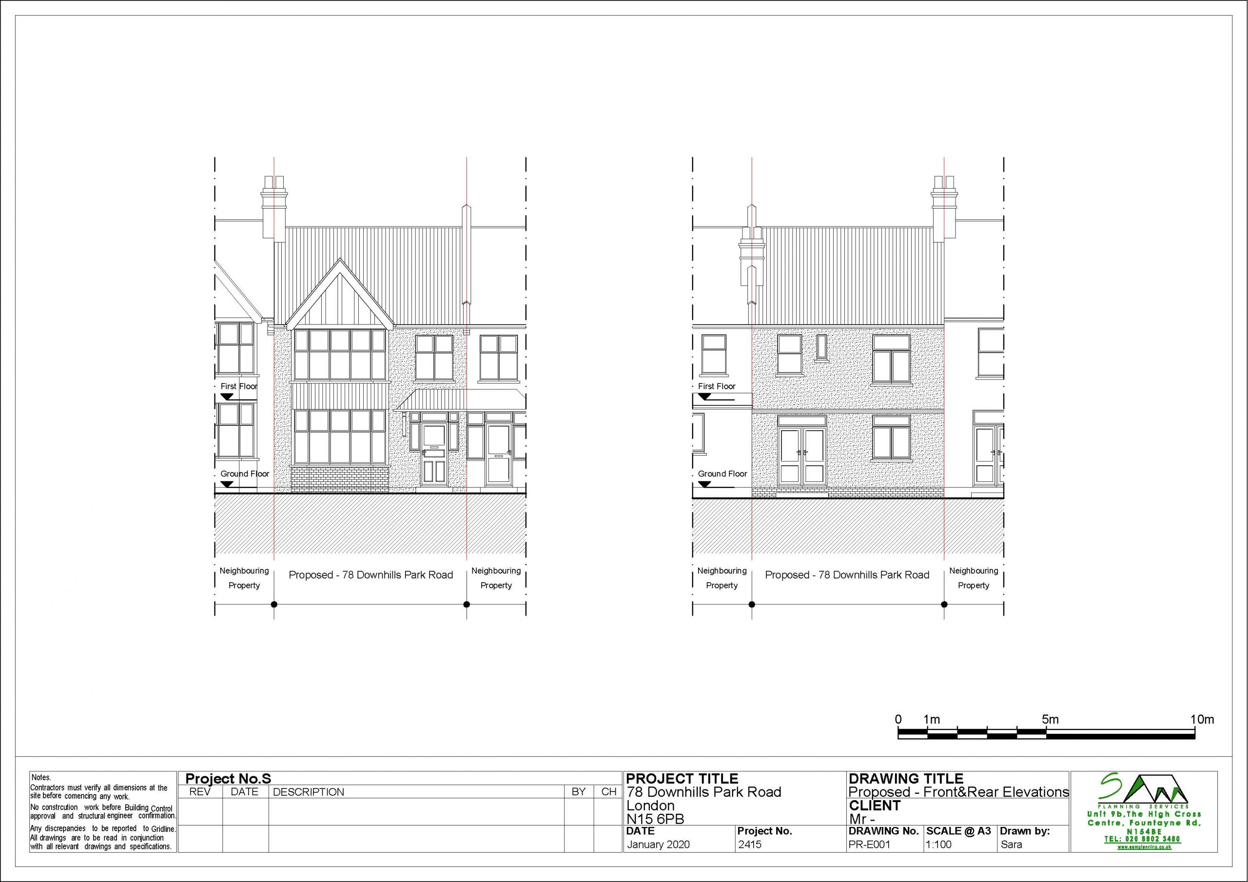 78downhillsProposed Front and Rear Elevations